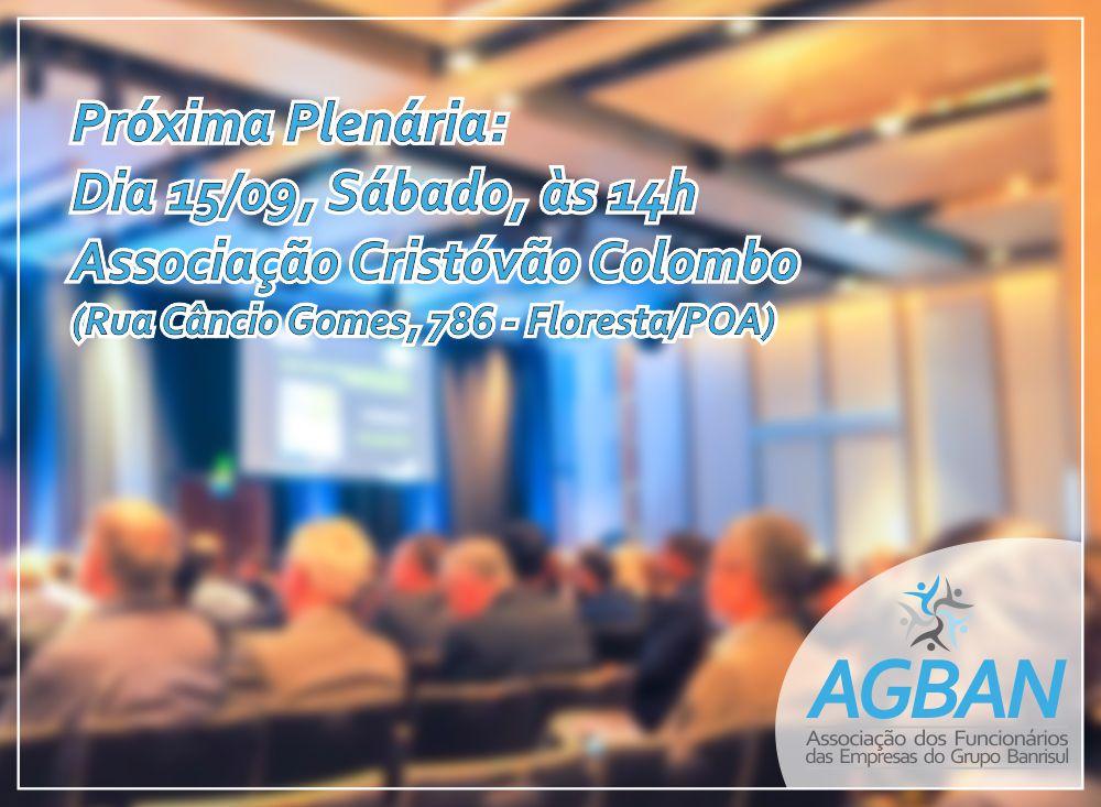 Próxima Plenária AGBAN: 15/09