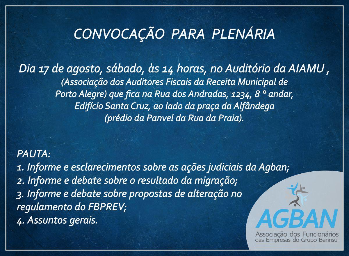 Convocação para Plenária: 17 de agosto