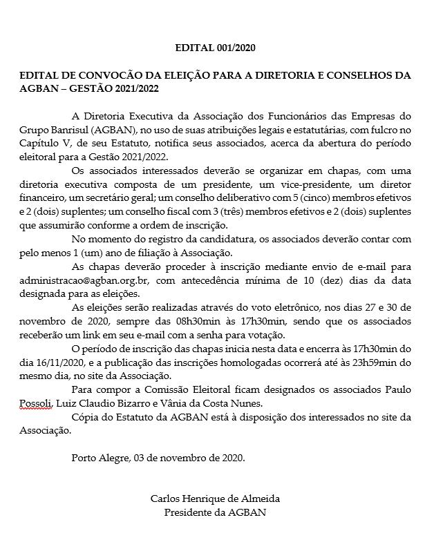 Edital – Eleições AGBAN